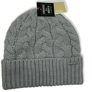 Michael Kors Patchwork Cable Knit Cuff Beanie Grey